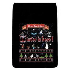 Winter Is Here Ugly Holiday Christmas Black Background Flap Covers (s)