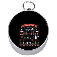 Winter Is Here Ugly Holiday Christmas Black Background Silver Compasses