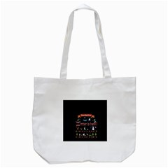 Winter Is Here Ugly Holiday Christmas Black Background Tote Bag (white)
