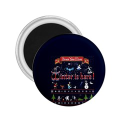 Winter Is Here Ugly Holiday Christmas Blue Background 2 25  Magnets