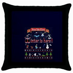 Winter Is Here Ugly Holiday Christmas Blue Background Throw Pillow Case (black)