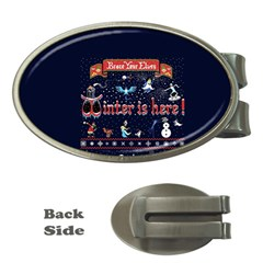 Winter Is Here Ugly Holiday Christmas Blue Background Money Clips (oval)