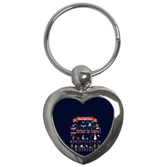 Winter Is Here Ugly Holiday Christmas Blue Background Key Chains (heart)