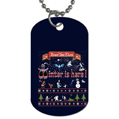 Winter Is Here Ugly Holiday Christmas Blue Background Dog Tag (two Sides)