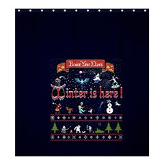 Winter Is Here Ugly Holiday Christmas Blue Background Shower Curtain 66  X 72  (large)
