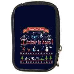 Winter Is Here Ugly Holiday Christmas Blue Background Compact Camera Cases