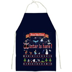 Winter Is Here Ugly Holiday Christmas Blue Background Full Print Aprons