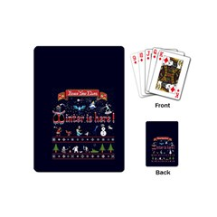 Winter Is Here Ugly Holiday Christmas Blue Background Playing Cards (mini)