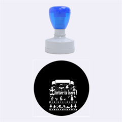 Winter Is Here Ugly Holiday Christmas Blue Background Rubber Round Stamps (medium)
