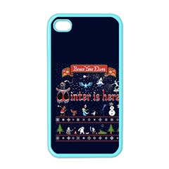 Winter Is Here Ugly Holiday Christmas Blue Background Apple Iphone 4 Case (color)
