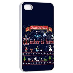 Winter Is Here Ugly Holiday Christmas Blue Background Apple Iphone 4/4s Seamless Case (white)