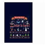 Winter Is Here Ugly Holiday Christmas Blue Background Small Garden Flag (Two Sides) Back