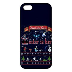 Winter Is Here Ugly Holiday Christmas Blue Background Apple Iphone 5 Premium Hardshell Case