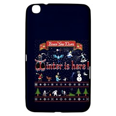 Winter Is Here Ugly Holiday Christmas Blue Background Samsung Galaxy Tab 3 (8 ) T3100 Hardshell Case