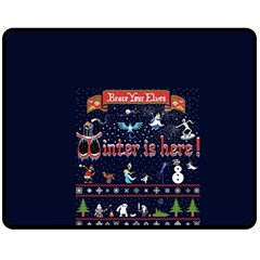 Winter Is Here Ugly Holiday Christmas Blue Background Double Sided Fleece Blanket (medium)