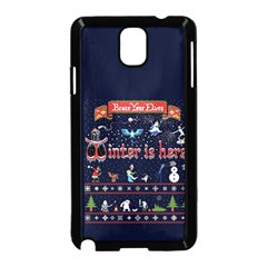 Winter Is Here Ugly Holiday Christmas Blue Background Samsung Galaxy Note 3 Neo Hardshell Case (black)