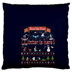 Winter Is Here Ugly Holiday Christmas Blue Background Large Flano Cushion Case (two Sides)