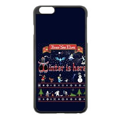 Winter Is Here Ugly Holiday Christmas Blue Background Apple Iphone 6 Plus/6s Plus Black Enamel Case
