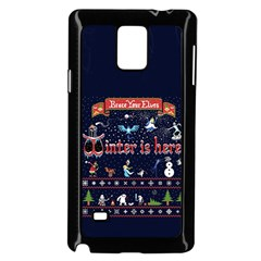 Winter Is Here Ugly Holiday Christmas Blue Background Samsung Galaxy Note 4 Case (black)