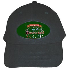 Winter Is Here Ugly Holiday Christmas Green Background Black Cap