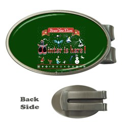 Winter Is Here Ugly Holiday Christmas Green Background Money Clips (oval)