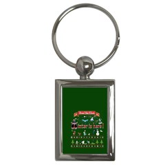 Winter Is Here Ugly Holiday Christmas Green Background Key Chains (rectangle)