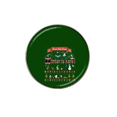 Winter Is Here Ugly Holiday Christmas Green Background Hat Clip Ball Marker