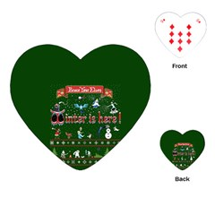 Winter Is Here Ugly Holiday Christmas Green Background Playing Cards (heart)