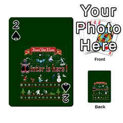 Winter Is Here Ugly Holiday Christmas Green Background Playing Cards 54 Designs