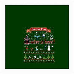 Winter Is Here Ugly Holiday Christmas Green Background Medium Glasses Cloth (2 Side)