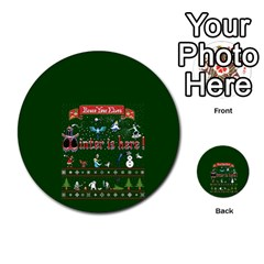 Winter Is Here Ugly Holiday Christmas Green Background Multi-purpose Cards (Round)