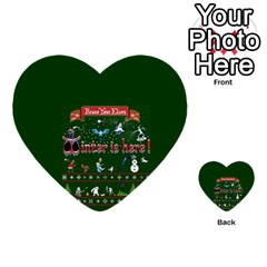 Winter Is Here Ugly Holiday Christmas Green Background Multi Purpose Cards (heart)