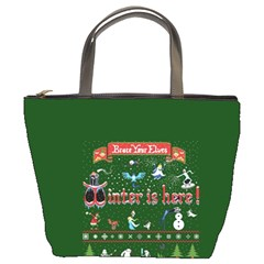 Winter Is Here Ugly Holiday Christmas Green Background Bucket Bags