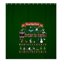 Winter Is Here Ugly Holiday Christmas Green Background Shower Curtain 66  X 72  (large)