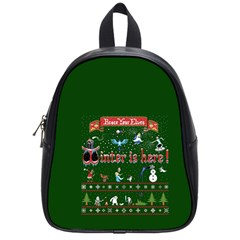 Winter Is Here Ugly Holiday Christmas Green Background School Bags (small)