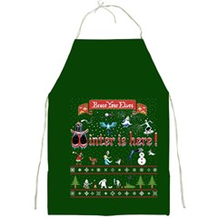 Winter Is Here Ugly Holiday Christmas Green Background Full Print Aprons