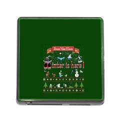 Winter Is Here Ugly Holiday Christmas Green Background Memory Card Reader (square)