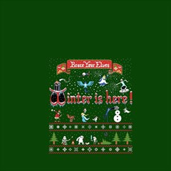 Winter Is Here Ugly Holiday Christmas Green Background Magic Photo Cubes