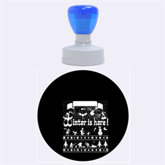 Winter Is Here Ugly Holiday Christmas Green Background Rubber Round Stamps (large)