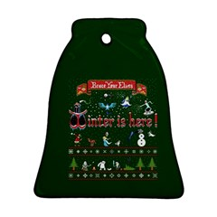 Winter Is Here Ugly Holiday Christmas Green Background Bell Ornament (2 Sides)