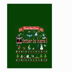 Winter Is Here Ugly Holiday Christmas Green Background Small Garden Flag (two Sides)