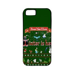 Winter Is Here Ugly Holiday Christmas Green Background Apple Iphone 5 Classic Hardshell Case (pc+silicone)