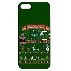 Winter Is Here Ugly Holiday Christmas Green Background Apple Iphone 5 Hardshell Case With Stand