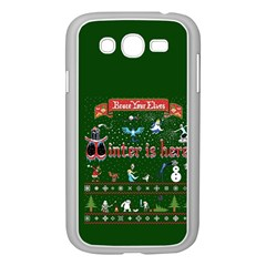 Winter Is Here Ugly Holiday Christmas Green Background Samsung Galaxy Grand Duos I9082 Case (white)