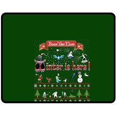 Winter Is Here Ugly Holiday Christmas Green Background Double Sided Fleece Blanket (medium)
