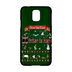 Winter Is Here Ugly Holiday Christmas Green Background Samsung Galaxy S5 Hardshell Case