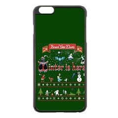 Winter Is Here Ugly Holiday Christmas Green Background Apple Iphone 6 Plus/6s Plus Black Enamel Case