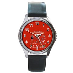 Winter Is Here Ugly Holiday Christmas Red Background Round Metal Watch