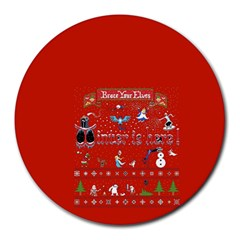 Winter Is Here Ugly Holiday Christmas Red Background Round Mousepads