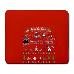 Winter Is Here Ugly Holiday Christmas Red Background Large Mousepads